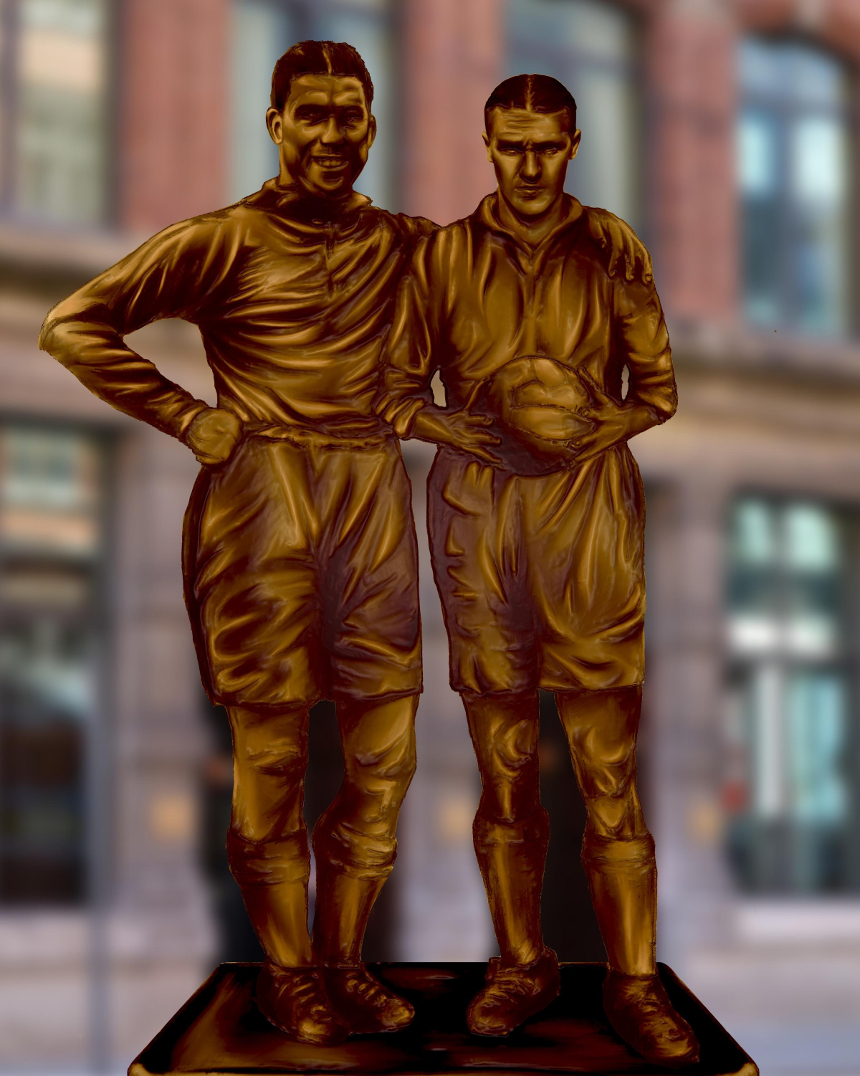 Dixie and Shankly statues